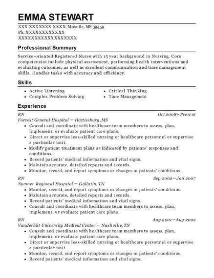 RN resume template Mississippi