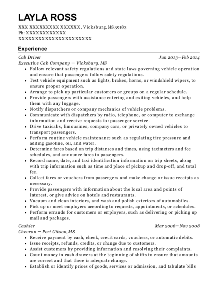 Cab Driver resume template Mississippi