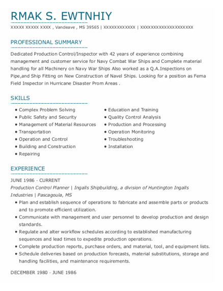 Quality Control Inspector resume example Mississippi