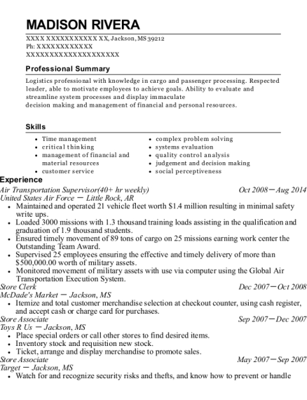 Air Transportation Supervisor resume example Mississippi