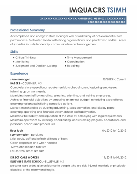 Store Manager resume format Mississippi