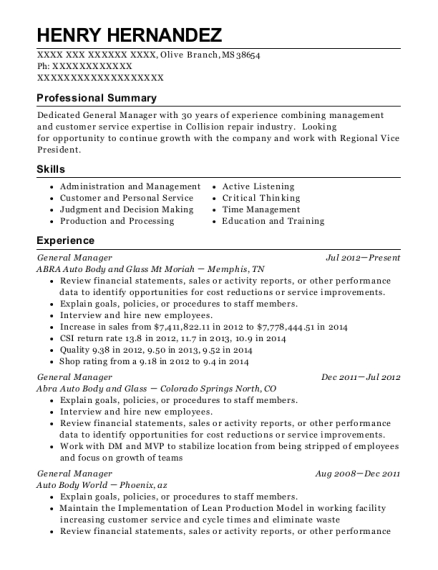 General Manager resume example Mississippi