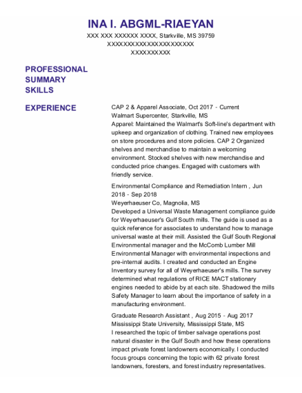 Graduate Research Assistant resume example Mississippi