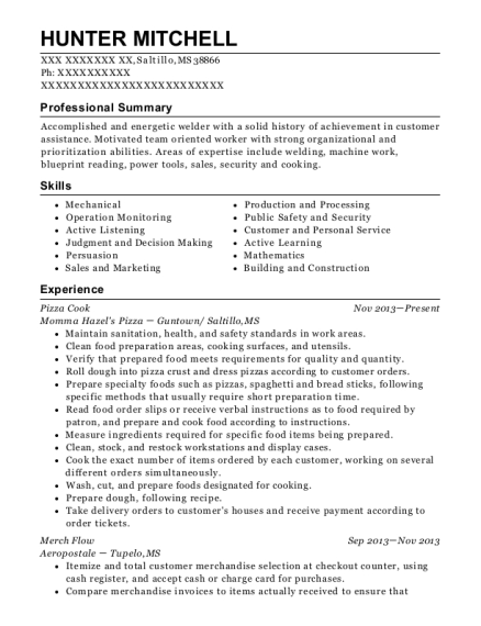 Pizza Cook resume example Mississippi