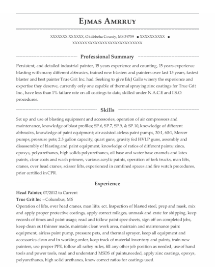 Head Painter resume format Mississippi