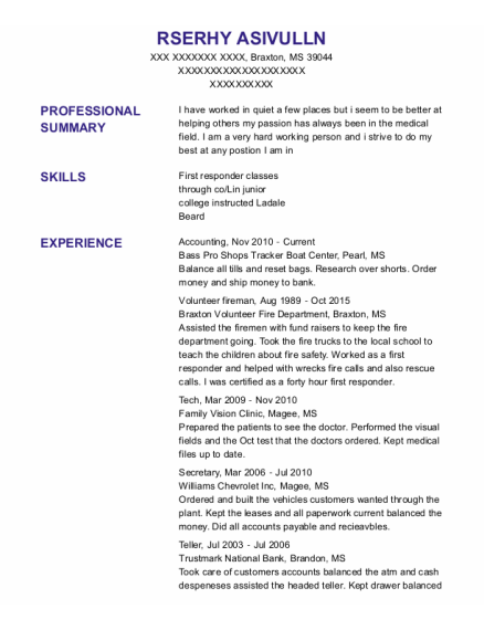 Accounting resume example Mississippi