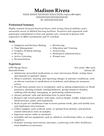 LPN Charge Nurse resume format Missouri