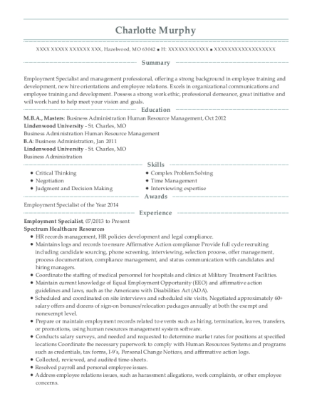 Employment Specialist resume template Missouri