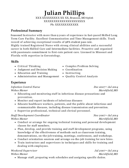 Webco Manor Infection Control Nurse Resume Sample - Branson Missouri