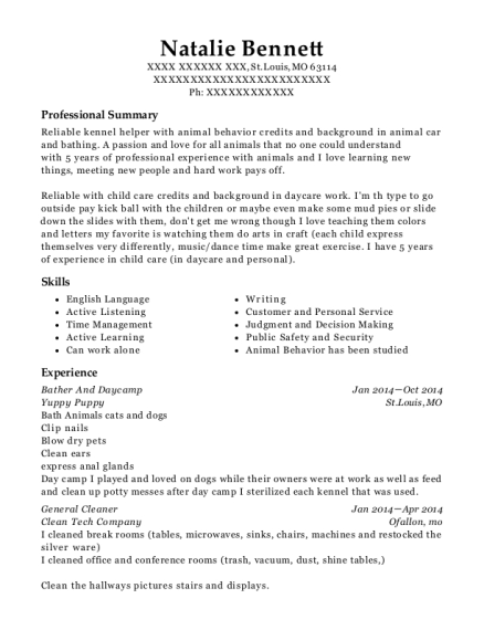 Bather And Daycamp resume example Missouri
