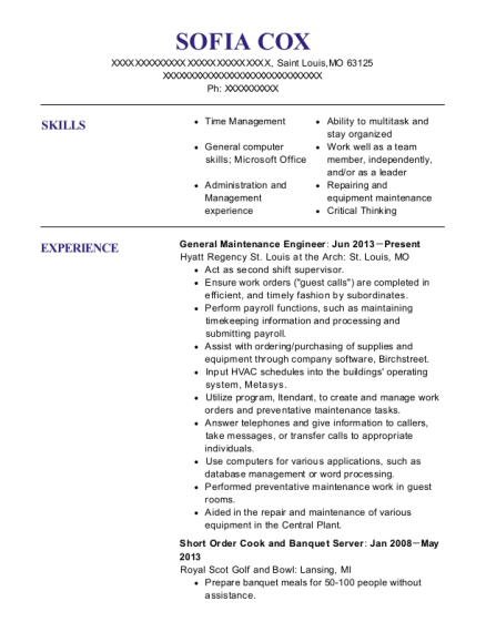 General Maintenance Engineer resume format Missouri