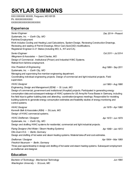 Senior Engineer resume format Missouri
