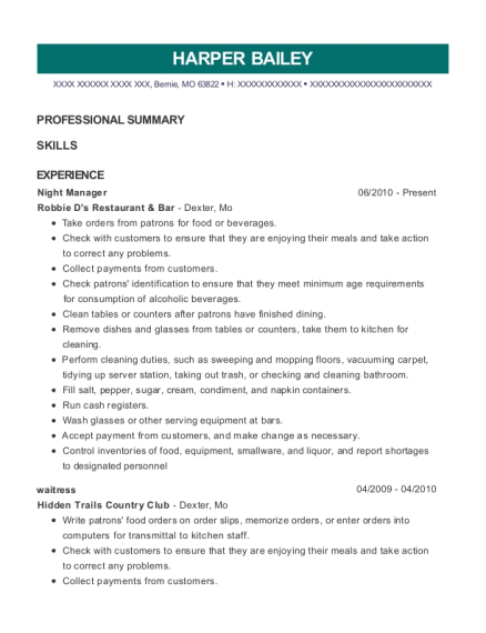 Night Manager resume template Missouri