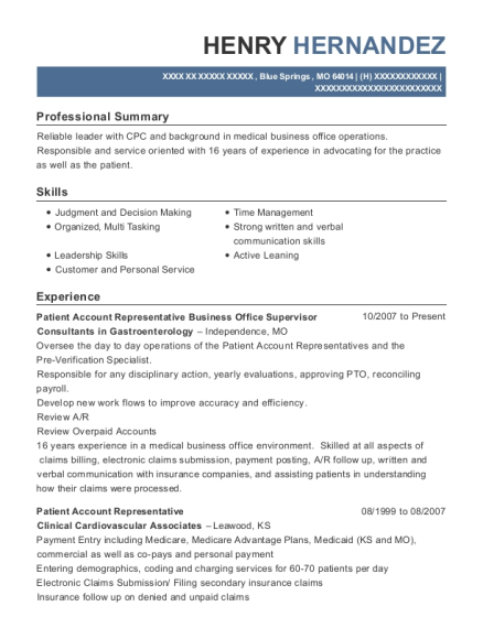 Patient Account Representative Business Office Supervisor resume template Missouri