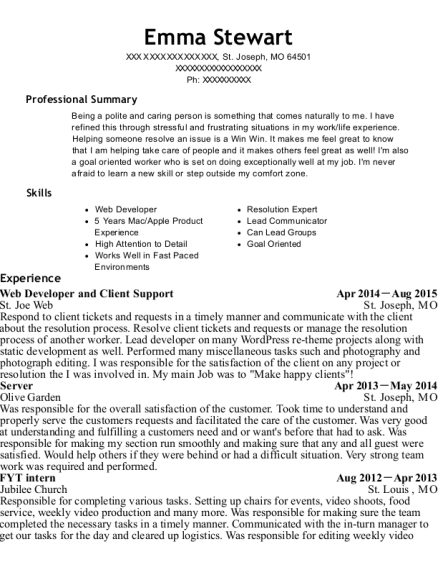 Web Developer and Client Support resume format Missouri