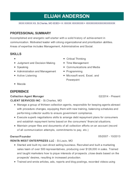 Collection Agent Manager resume template Missouri