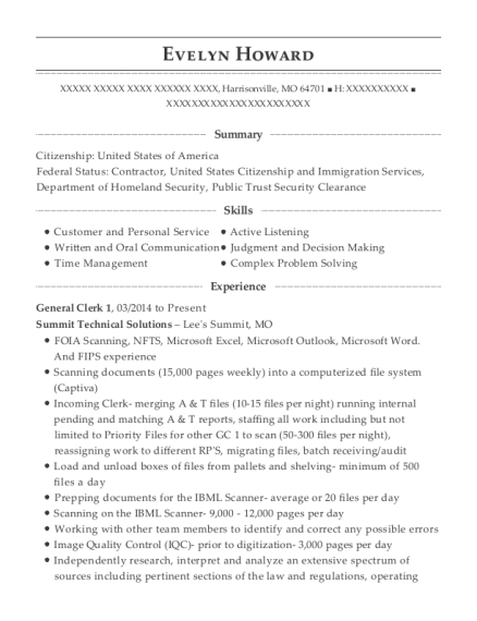 General Clerk 1 resume example Missouri