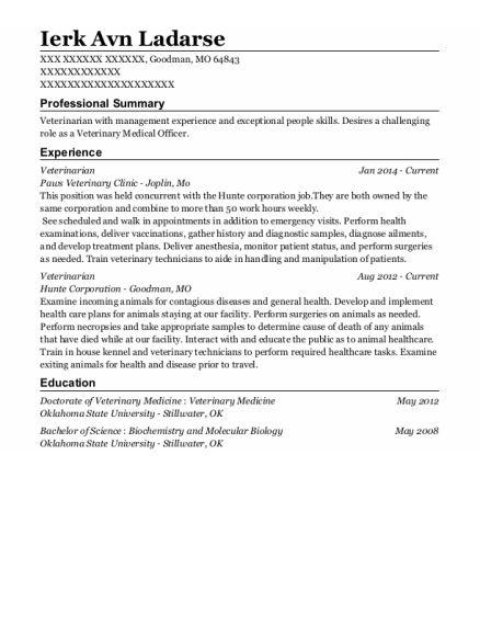 Veterinarian resume template Missouri