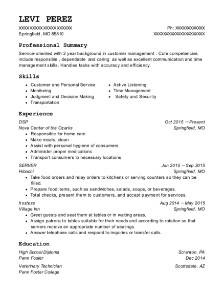 DSP resume sample Missouri