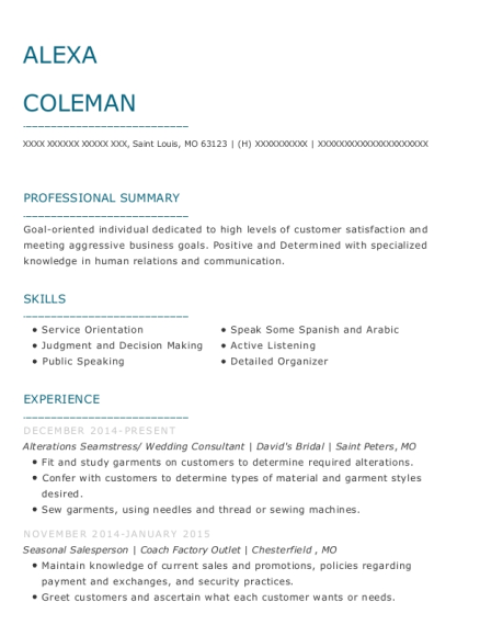 Alterations Seamstress resume example Missouri