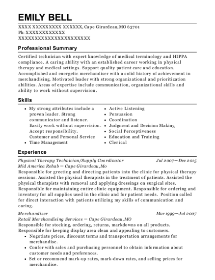 Physical Therapy Technician resume format Missouri