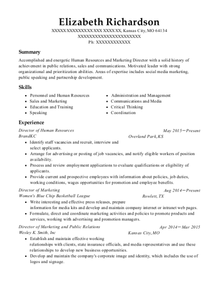 Director of Human Resources resume template Missouri