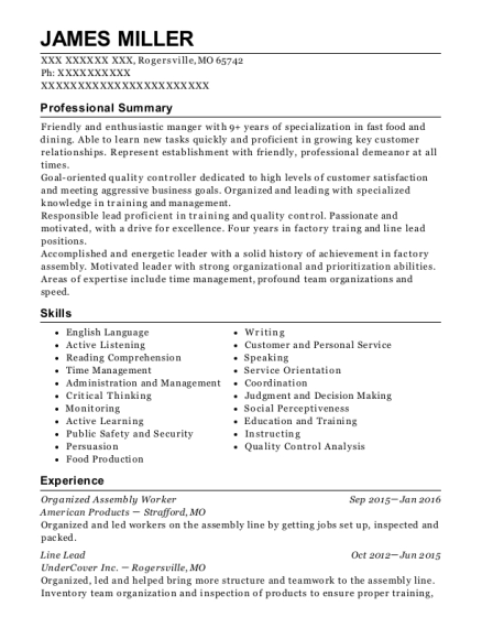 Organized Assembly Worker resume example Missouri