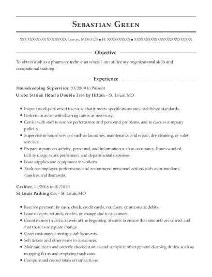 Housekeeping Supervisor resume template Missouri