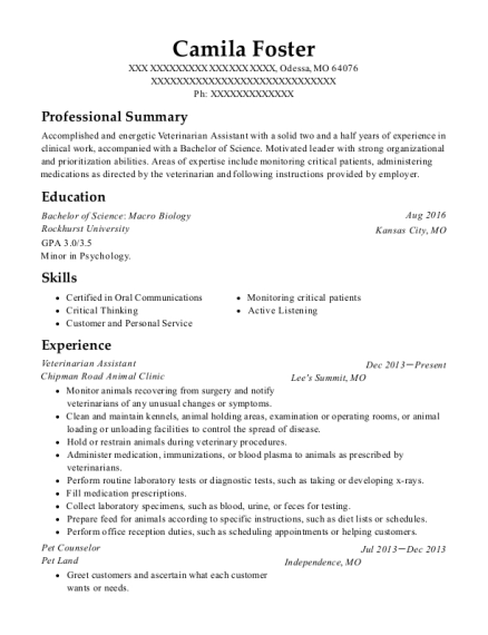 Veterinarian Assistant resume example Missouri