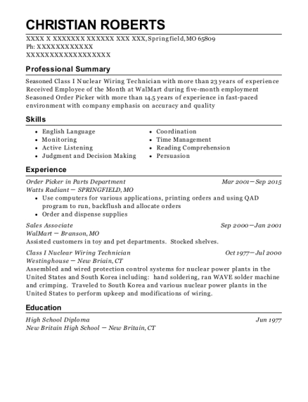 Order Picker in Parts Department resume example Missouri