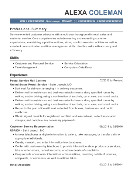 Postal Service Mail Carriers resume template Missouri