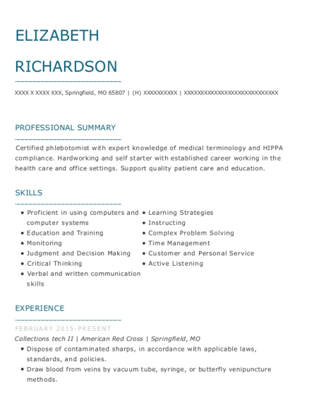 Collections tech II resume template Missouri