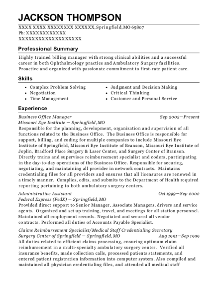 Business Office Manager resume example Missouri