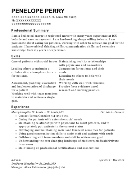 RN ICU resume example Missouri