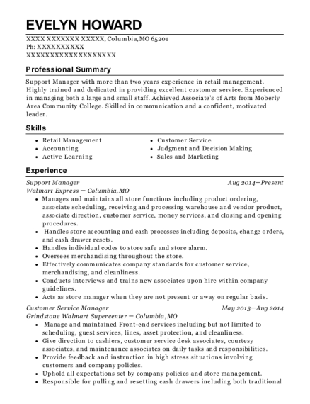 Support Manager resume example Missouri