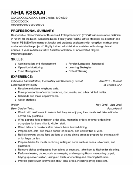 Education Administrators resume template Missouri