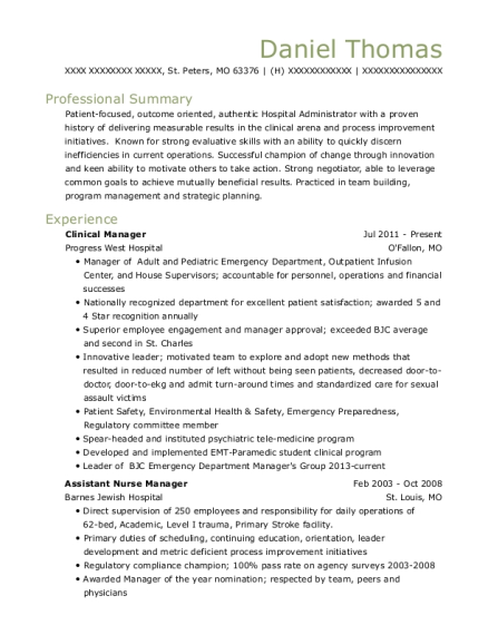 Clinical Manager resume format Missouri