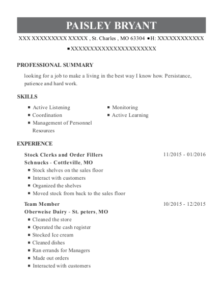 Stock Clerks and Order Fillers resume format Missouri