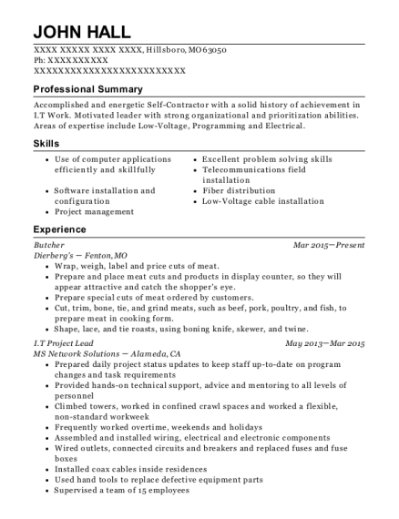Butcher resume template Missouri