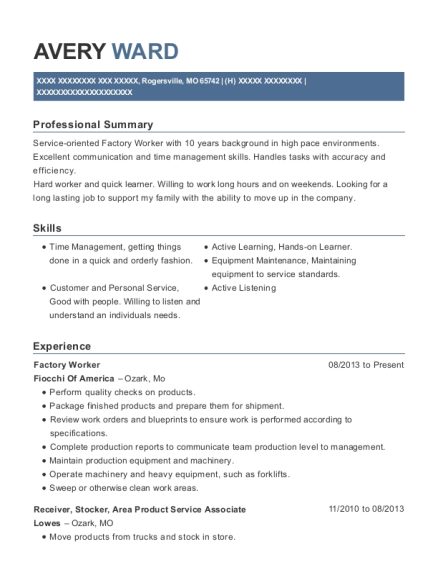 Factory Worker resume template Missouri