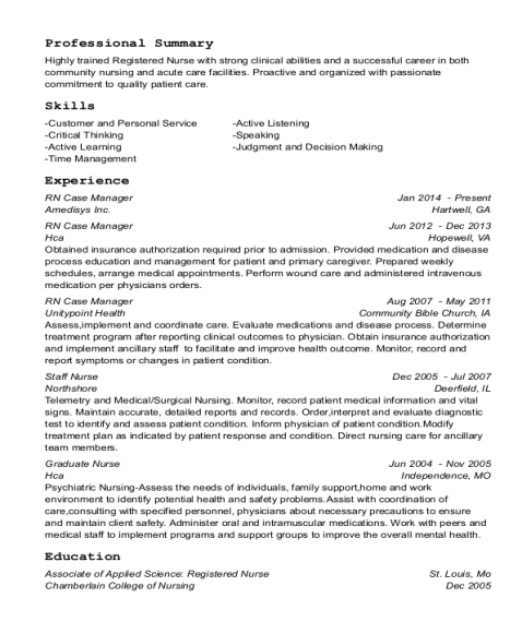 RN Case Manager resume format Missouri