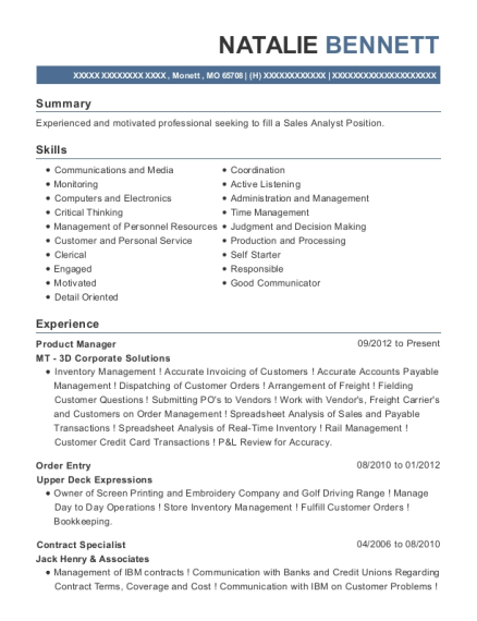 Product Manager resume template Missouri