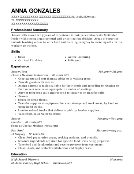 Busser resume example Missouri