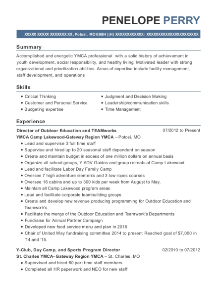 Director of Outdoor Education and TEAMworks resume format Missouri