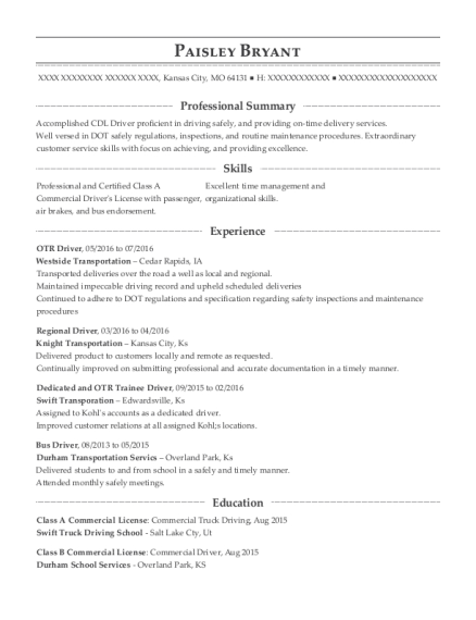 OTR Driver resume example Missouri