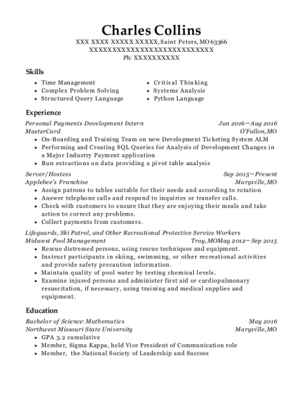 Personal Payments Development Intern resume sample Missouri