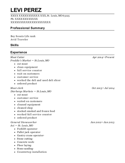 Meat Cutter resume format Missouri