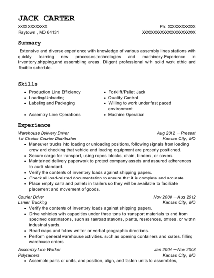 Warehouse Delivery Driver resume sample Missouri