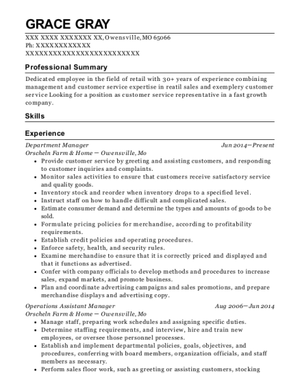 Department Manager resume format Missouri