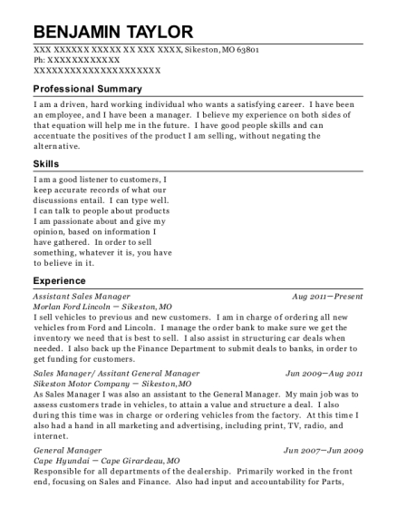 Assistant Sales Manager resume example Missouri